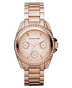 Michael Kors Watch, Women's Chronograph Rose Gold Tone Stainless Steel Bracelet 33mm MK5613    $250