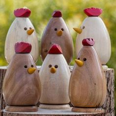 Perfect gifts for all your chicken-loving friends, these quirky characters are sure to be a big hit. The tall roosters (photos 2 and 3) have a crown-style comb, while the shorter hens (photos 4-7) have a smaller scalloped detail. Build your own flock by selecting your chickens – then add an egg or two for a charming scene, or purchase a set (one of each) as shown in photo 1. Each piece has been hand-turned on a lathe, the beaks turned separately and applied during final assembly. The…