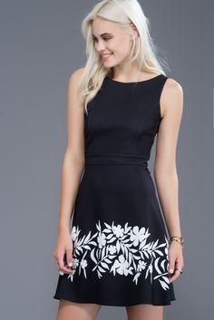 Siyah Çiçek Desenli Elbise MLWAW168787