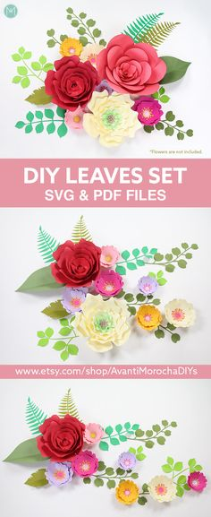 DIY Leaves Set for Giant Paper Flowers | SVG & PDF files. Now available on my Etsy shop.