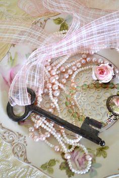 Keys & Locks:  #Key and pearls. two of my favorite things