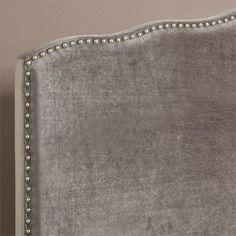 PRI Queen Velvet Upholstered Nailhead Headboard in Silver Nailhead Headboard, Queen Headboard, Nailhead Trim, Guest Room Decor, Velvet, Fabric, Ds, Bedroom Ideas, Stairs