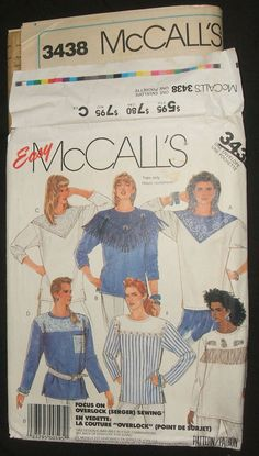 #McCalls #Sewing Pattern 3438 #Misses Top #Pullover Fringed Yoke #WesternShirt #CowgirlCountry Blouse Size 6 to 20 DIY Fashion Design Clothing