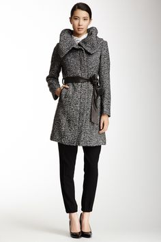 Cole Haan Wool Blend Leather Trimmed Twill Coat