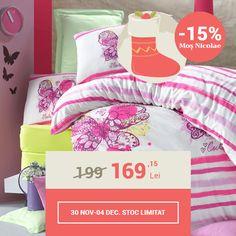 Lenjerie de pat din bumbac Valentini Bianco VKR10 Cute Buttefly Roz (-15%)