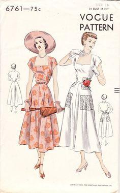 Vintage 1950s dress pattern Vogue 6761