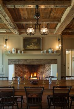 Comfortable Old Fashioned Dining Room with Custom Fireplace