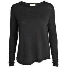American Vintage Raw edge sweatshirt (4,350 INR) ❤ liked on Polyvore featuring tops, hoodies, sweatshirts, shirts, black, loose black shirt, loose shirts, black sweat shirt, extra long sleeve shirts and cotton shirts