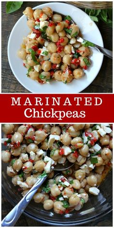 super easy to make, and they're a delicious addition to salads, pita or just eating by the spoonful! via Marinated Chickpeas are super easy to make, and they're a delicious addition to salads, pita or just eating by the spoonful! Chickpea Recipes, Veggie Recipes, Salad Recipes, Diet Recipes, Vegetarian Recipes, Cooking Recipes, Healthy Recipes, Chickpea Salad, Cooked Vegetable Recipes