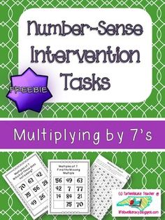 "Needing something different to help your students who are struggling to master their multiplication facts? A portion of my class needs something more than flashcards. I designed these intervention activities on the basis that many of my students who are not mastering their multiplication facts need to develop greater number sense and to increase their ""count by"" speed and ability. TRY MY NUMBER SENSE INTERVENTION TASKS for FREE with my multiples of 7 set!!!"