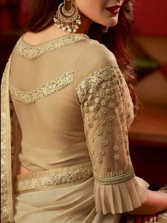 Beige Art Silk Embroidered Saree with Designer Blouse - Blouse designs Netted Blouse Designs, Best Blouse Designs, Saree Blouse Neck Designs, Bridal Blouse Designs, Dress Designs, Blouse Designs Catalogue, Designer Blouse Patterns, Skirt Patterns, Coat Patterns