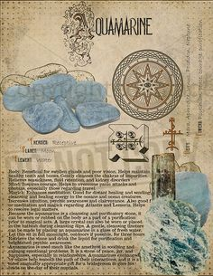 Aquamarine Aquamarine, Book of Shadows printable page. Wiccan Spell Book, Wiccan Spells, Witchcraft, Crystals And Gemstones, Stones And Crystals, Grimoire Book, Magic Herbs, Crystal Magic, Crystal Green