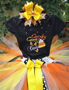 Candy Corn Cutie Halloween Fall Thanksgiving Outfit Black Onesie Tutu and FREE Hair Bow Black White Yellow Orange Candy Corn Cutie Tutu Bodysuit Shirt, Black Bodysuit, Onesie, 2nd Birthday Outfit, Little Girl Tutu, Orange Candy, Tutu Outfits, Fall Outfits, Tutus For Girls
