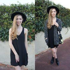 Alba Granda - H&M Black Hat, Zara Lbd, Stradivarius Cardigan, Zara Leather Boots, Bimba Y Lola Yellow Bag - Little Black Dress