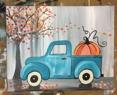 How To Paint A Vintage Pumpkin Truck - Step By Step Painting Canvas Painting Designs, Fall Canvas Painting, Canvas Painting Tutorials, Autumn Painting, Acrylic Canvas, Painting Videos, Painting Pictures, Tole Painting, Halloween Painting