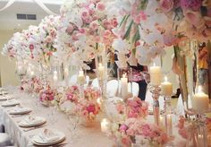 Tall wedding centerpieces are one of the brilliant ideas how to decorate your reception. Stunning coral, white, purple colors will make your wedding great! Tall Wedding Centerpieces, Spring Wedding Decorations, Ceremony Decorations, Centrepieces, Crystal Centerpieces, Table Centerpieces, Dc Weddings, Romantic Weddings, Ballroom Wedding