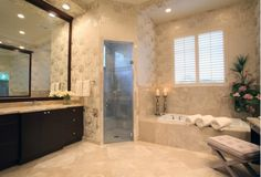 Bathroom Design with Glass Shower Enclosure