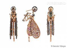 "Boucles d'oreille ""Damselfly"" en or rose 18 carats et pierres precieuses et semi-precieuses Daniela Villegas."