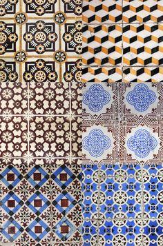 Azulejos hidraúlicos formando mix estampas