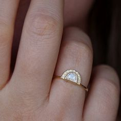 Half moon diamond engagement ring with pave diamond crescent in solid gold. Unique and refine bohemian engagement ring. 25 Carat Diamond Ring, Diamond Crown Ring, Eternity Ring Diamond, Diamond Wedding Rings, Diamond Jewelry, Wedding Band, Wedding Set, Boho Wedding, Wedding Reception