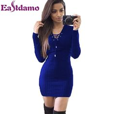 Sweaters Dresses Women 2016  Long Sleeve V neck Lace Up Bodycon Knitted Dress Slim Casual Knitwear Winter Elegant Bnadage Dress