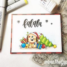 I had so much fun making this one layer card featuring @mftstamps Happy Pawlidays stamp set! #mft #mftstamps #copicmarkers