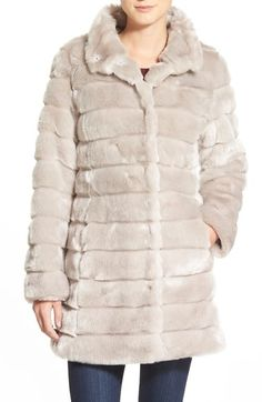 0d30eb9be01 Eliza J Grooved Faux Fur Coat (Regular  amp  Petite) available at  Nordstrom