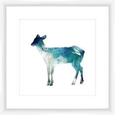 Watercolor Deer Giclee Framed Painting Print Art