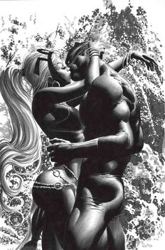 Storm and Black Panther - Mike Deodato Jr. Black Characters, Comic Book Characters, Comic Book Heroes, Marvel Characters, Comic Books Art, Comic Art, Black Panther Storm, Black Panther Marvel, Marvel Comics Art