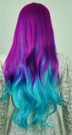DIY turquoise ombre hair dye for long purple hair girls -Creative blue/green ombre hair dye for party