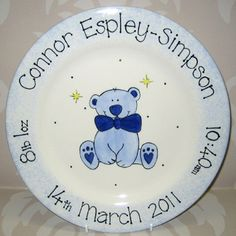 Personalised Ceramic Baby Boy Teddy Plate Gift