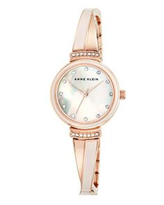 Women's Wrist Watches - Anne Klein Womens AK2216BLRG Swarovski CrystalAccented Rose GoldTone and Blush Pink Bangle Watch * Learn more by visiting the image link.