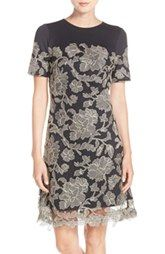 Tadashi Shoji Embroidered Lace Overlay A-Line Dress (Regular & Petite) available at Nordstrom.
