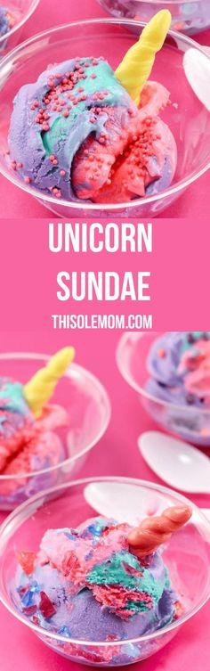 Unicorn Sundae a fun treat for unicorn fans! And, perfect party dessert.