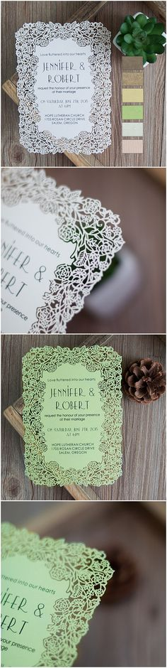 delicate laser cut elegant wedding invitations-several colors available to match your wedding colors