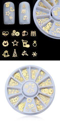 Gold Metal Nail Art Sticker Decoration Wheel Christmas Mix Designs Tiny Slice DIY Manicure Nail Accessories