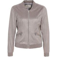 Suedette Bomber Jacket (€75) ❤ liked on Polyvore featuring outerwear, jackets, flight jacket, bomber jacket, bomber style jacket, gray jacket and blouson jacket