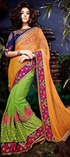 In case you love wearing many colors at one go, this #saree is just what you need. #IndianWedding #Embroidery #bride #indianfashion #Partywear