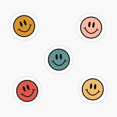 'smileys' Sticker by gail-snail Preppy Stickers, Cute Laptop Stickers, Pop Stickers, Face Stickers, Tumblr Stickers, Printable Stickers, Kawaii Stickers, Cute Patterns Wallpaper, Cute Laptop Wallpaper