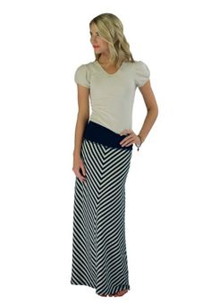 Mikarose Navy  Cream Striped FloorLength Maxi Skirt Medium * Check out the image by visiting the link.