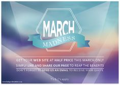Like & Share our Facebook page and get your personalized web design at half price this March!! www.facebook.com/kalypsokreatif