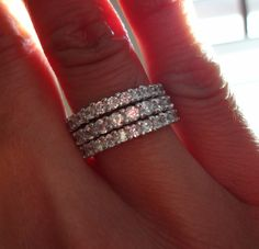 Sterling Silver Cubic Zirconia Stacking Eternity Band Rings, Size 8 $34