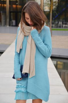 New Kuschellook - I was wearing a twin-set dress and pullover, a Zara scarf and a Ferragamo bag