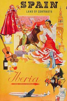 DP Vintage Posters - Iberia Constellation Spain Original Vintage Travel Poster