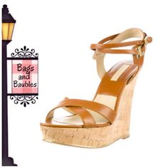 """MICHAEL KORS Shana Cork Wedge Sandals, Size 39 IT* Very Good Pre-Loved Condition: MICHAEL KORS COLLECTION Shana Platform Wedge Sandals, Size 39 IT.* Luggage/Tan smooth calf skin upper with gold-tone trim and hardware; crisscross strap at vamp and wraparound adjustable ankle strap with buckle closure; approx 4.75"""" cork wedge with 1.25"""" platform. Imported. *NOTE ON FIT: MK Italian shoe conversion size 39 IT equivalent US size 8.  {Also available size 39.5 IT 