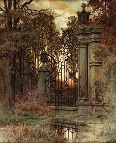"""Evening mood at the castle gate"" by Ferdinand Knab (born on June 183 . ""Evening mood at the castle gate"" by Ferdinand Knab (born June 1834 in Würzburg, died Novembe Abandoned Houses, Abandoned Places, Abandoned Mansions, Castle Gate, Fantasy Landscape, The Secret Garden, Ferdinand, Garden Gates, Beautiful Architecture"