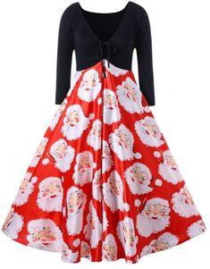 Plus Size Santa Claus Print Midi Christmas Dress cb1a6f48f676