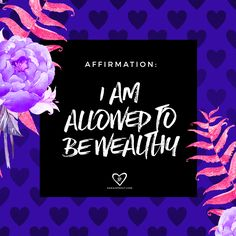 #affirmation: I am allowed to be wealthy. Yes you are!! So many people get in their own way and create energetic blocks around creating abundance. This is because of patterning in childhood, certain belief systems, as well as issues of worthiness. The good news is that you ARE WORTHY of all good things and you can always rewire your beliefs. xo #manifesting #affirmation #abundance