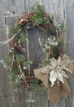 winter wreath with burlap bow