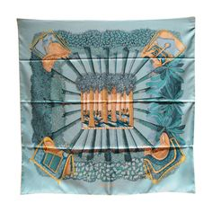 RARE Hermes Ombres et Lumieres Silk Scarf in Blue | From a collection of rare vintage scarves at https://www.1stdibs.com/fashion/accessories/scarves/